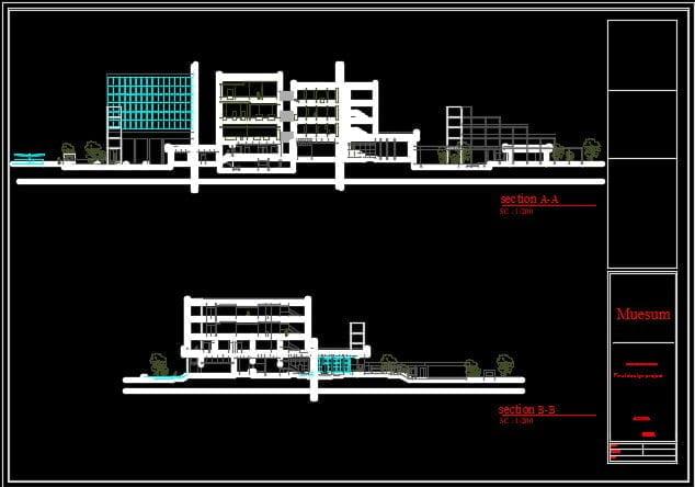 برش های پروژه معماری موزه