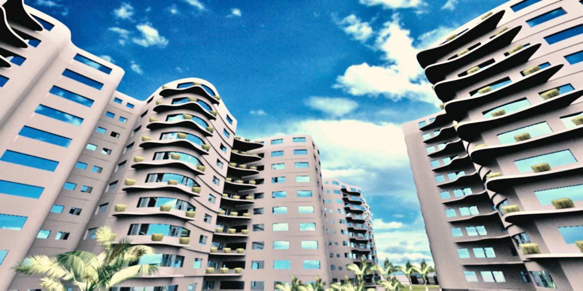 سه بعدی پروژه مجتمع مسکونی