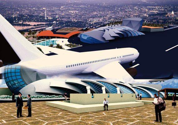 پروژه معماری فرودگاه (نقشه،ریزفضا،ایده و کانسپت و 3D)