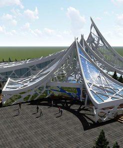 پروژه معماری فرهنگسرای مدرن – پلان های اتوکدی کانسپت و 3D حرفهای لومیون