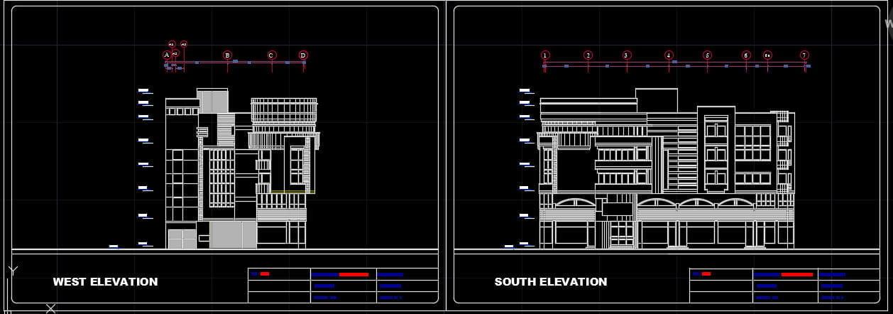 پروژه کامل هتل بصورت فاز 1و2(پلان،نما،برش،شیب،فونداسیون ...) 1