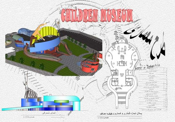 دانلود پروژه موزه کودکان [پلان،نما،برش،برنامه فیزیکی،3D،پوستر]
