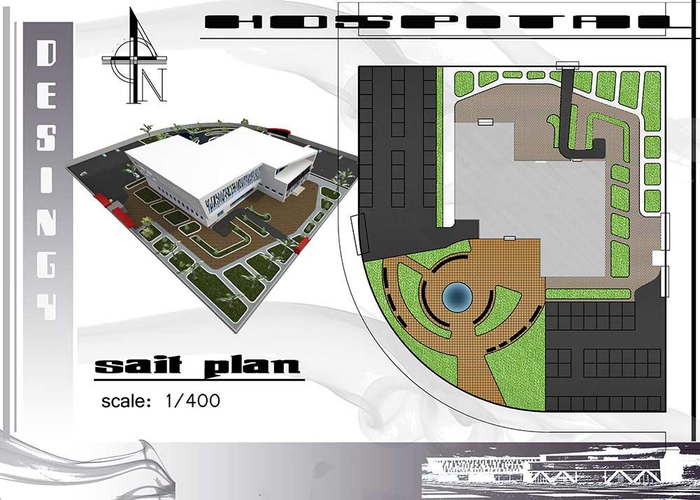سایت پلان پروژه طراحی بیمارستان