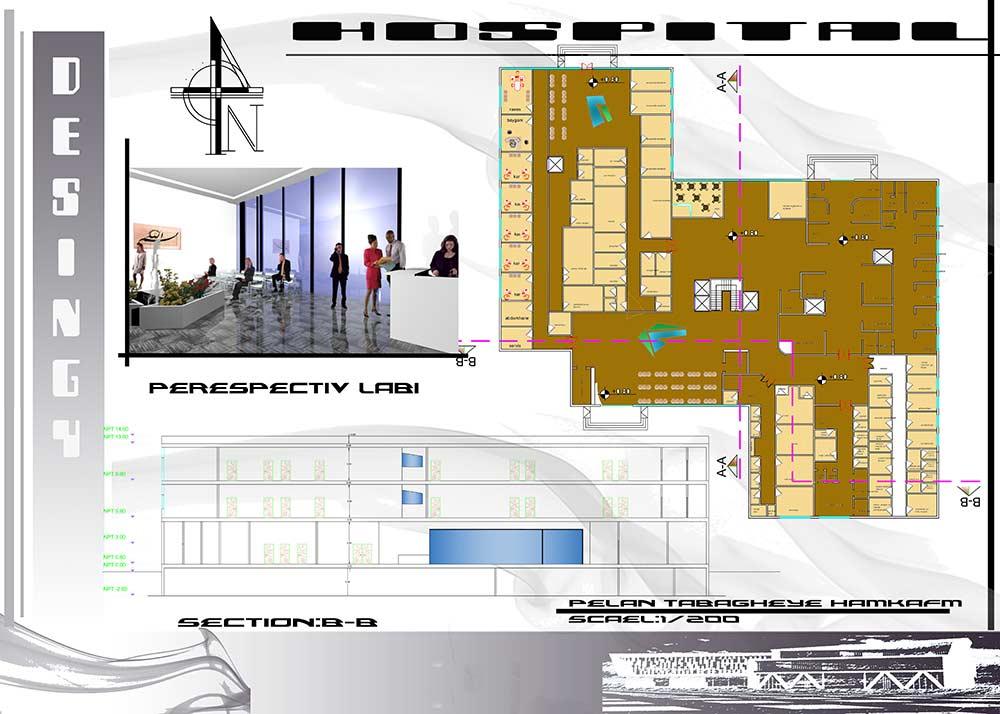 نقشه معماری پروژه کامل بیمارستان