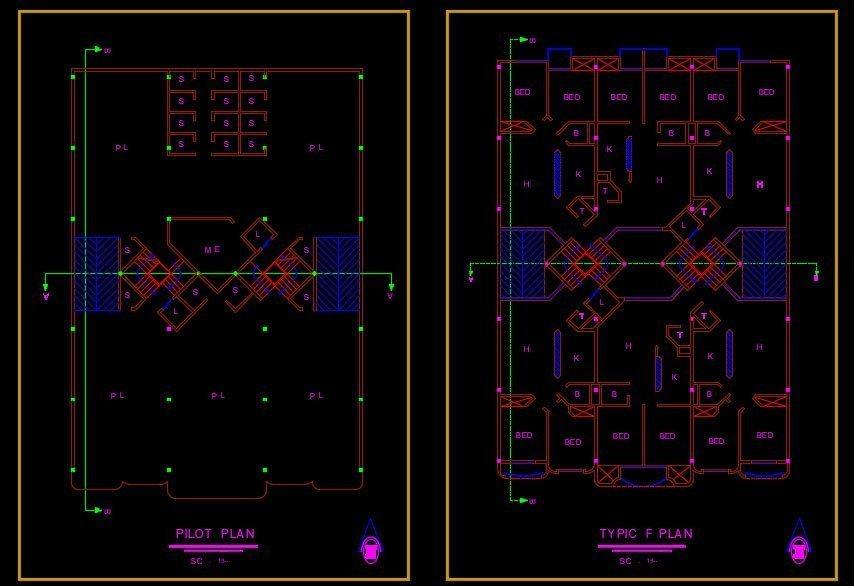 پلان طبقات پروژه مجتمع مسکونی طرح پنج 6 واحدی