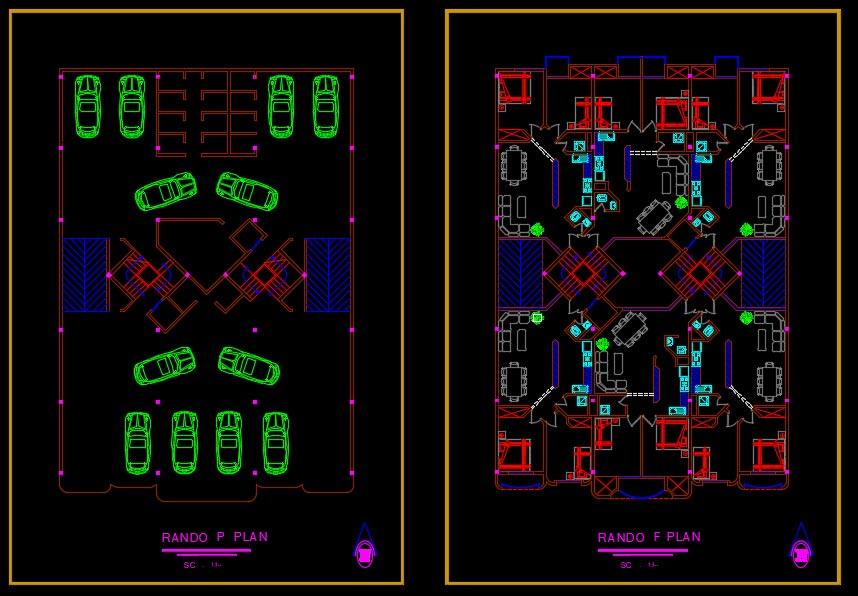 پلان پروژه مجتمع مسکونی 6 واحد
